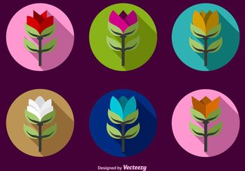Colour Flat Flower Icon Vectors - Free vector #145781
