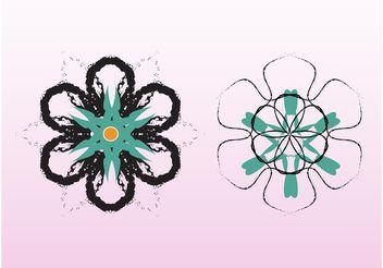 Grunge Flower Vectors - Free vector #146131