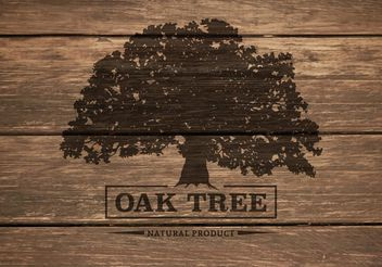 Free Oak Tree Silhouette On Wooden Background Vector - Free vector #146201