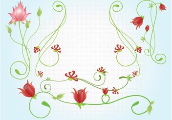 Red Flowers Vectors - бесплатный vector #146311