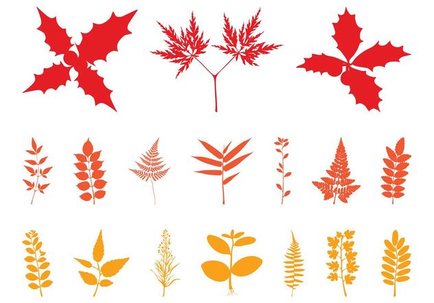 Autumn Leaves Silhouettes - Free vector #146461