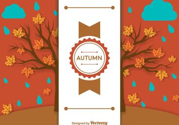 Autumn Background Label Template - vector gratuit #146601