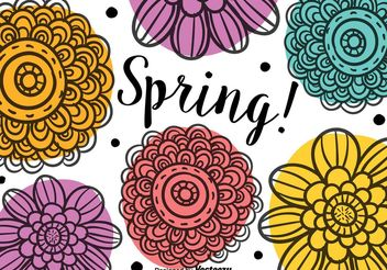 Spring Doodle Flowers - Free vector #146631