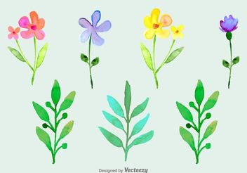 Watercolored Ornamental Flowers - vector gratuit(e) #146651