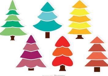 Colorful Cedar Trees Vectors - vector gratuit(e) #146671