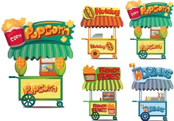 Food Cart Vectors - бесплатный vector #146761