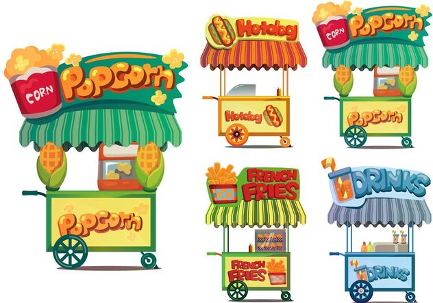 Food Cart Vectors - Free vector #146761