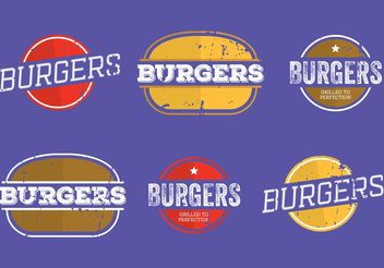 Vintage Burger Labels - Free vector #147021