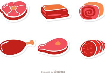 Meat Sticker Vectors - Free vector #147201