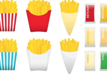 Fries With Condiments - vector gratuit #147281