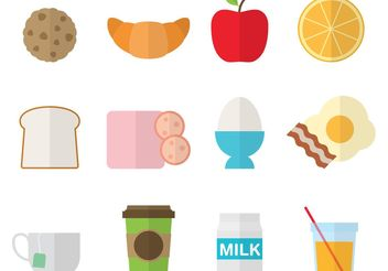 Colorful Breakfast Icons - Free vector #147381