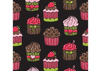 Cute Cupcake Pattern Vector - Free vector #147761