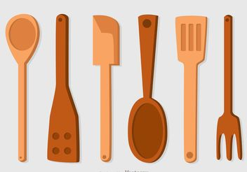 Wooden Spoons Icons Vector Pack - Free vector #147891