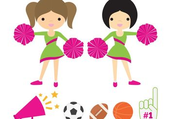 Cheerleaders with Pom Poms Vector Pack - Free vector #148061
