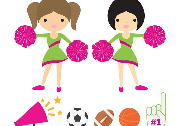 Cheerleaders with Pom Poms Vector Pack - vector gratuit(e) #148061
