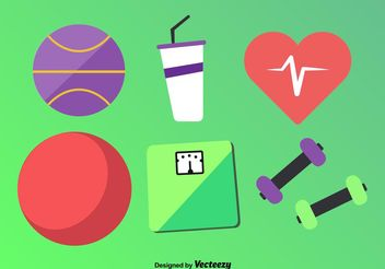 Flat Fitness Vector Icons - vector #148201 gratis