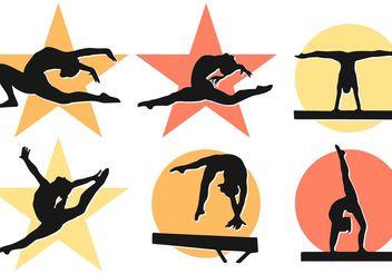 Women Girl Gymnastics Silhouettes Vectors - Kostenloses vector #149231