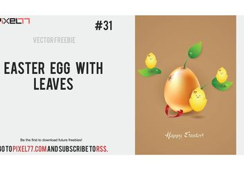 Free Easter Vector illustration with egg and leaves - Free vector #149241