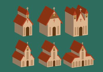 Isometric Country Church Vectors - Free vector #149411