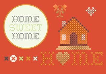 Cross Stitch Home Sweet Home Set - Free vector #149581