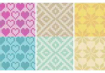 Cross Stitch Pattern Vectors - Free vector #149591