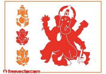 Ganesha Silhouettes Vector - Free vector #149821