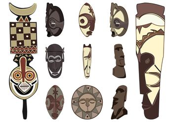 Tribal Masks Set - Free vector #149971