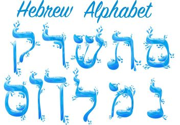 Water Hebrew Alphabet Vectors - Free vector #149981