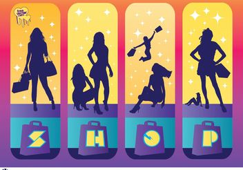 Shopping Girls - vector gratuit #150271