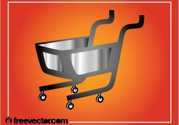 Silver Shopping Cart Graphics - vector gratuit #150281