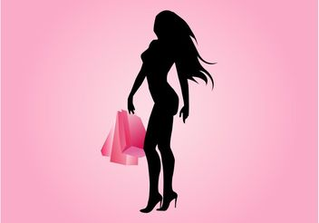 Sexy Shopping Girl Vector - Free vector #150391