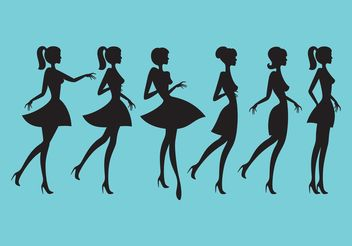 Silhouettes Of Girls - vector gratuit #150731