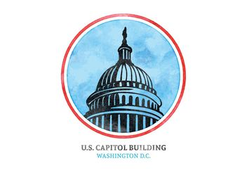 Free Vector Watercolor U.S. Capital Building - бесплатный vector #152331
