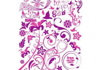 Pink Flowers Vectors - Free vector #152721