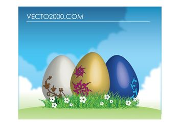 Easter eggs on green grass - бесплатный vector #153061