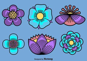 Illustrated Vectors Flowers - Free vector #153111