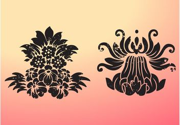 Grungy Flowers - Free vector #153261