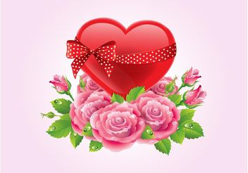 Hearts And Roses Vector - Free vector #153351
