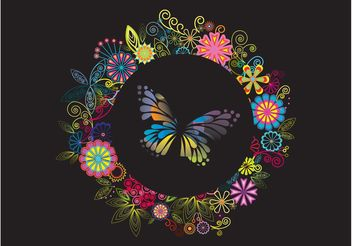 Flowers And Butterfly Layout - Free vector #153371