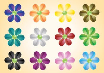 Colorful Flowers Vectors - vector gratuit #153431