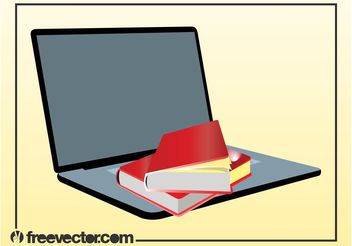 Books And Laptop Vector - бесплатный vector #153811