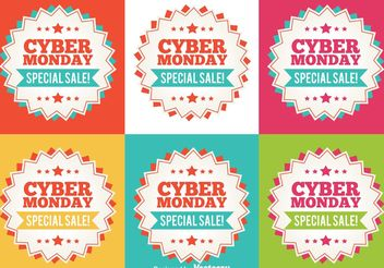 Cyber Monday Flat Sale Tags - vector gratuit #154001