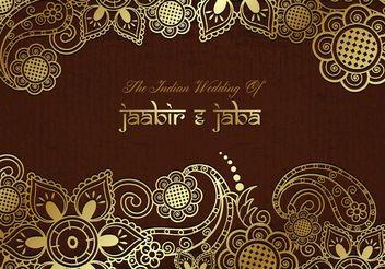 Free Vector Golden Indian Wedding Card - vector gratuit #154501