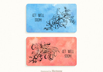 Free Vector Get Well Soon Watercolor Cards - Free vector #155141