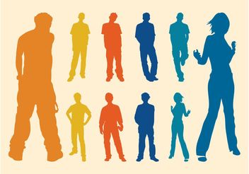 Silhouette Men And Women - vector gratuit #156331