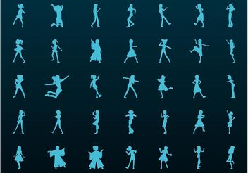 Girls Silhouette Vectors - бесплатный vector #156441