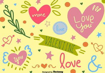 Cute Hand-drawn love graphics - Kostenloses vector #156581