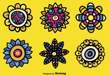 Hand Drawn Abstract Flower Vectors - Free vector #157201