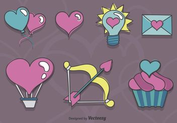 Sketchy Valentine Icons - Free vector #157281