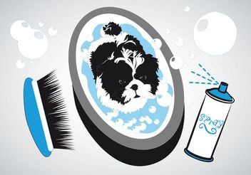 Small Dog Bath - vector gratuit #157351